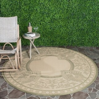 "Safavieh Abaco Natural/ Olive Green Indoor/ Outdoor Rug - 6'7"" x 6'7"" round"