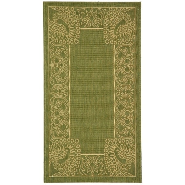 """Safavieh Abaco Olive Green/ Natural Indoor/ Outdoor Rug - 2'-7"""" x 5'"""