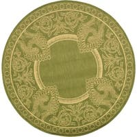 Safavieh Abaco Olive Green/ Natural Indoor/ Outdoor Rug (5'3 Round) - 5'3 round
