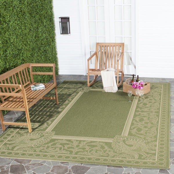 Safavieh Abaco Olive Green/ Natural Indoor/ Outdoor Rug (6'7 x 9'6)