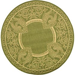 Safavieh Abaco Olive Green/ Natural Indoor/ Outdoor Rug (6'7 Round)