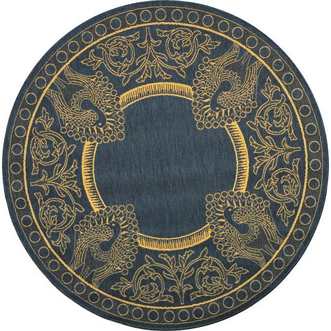 Safavieh Abaco Blue/ Natural Indoor/ Outdoor Rug (5'3 Round)