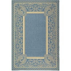 Safavieh Indoor/ Outdoor Abaco Blue/ Natural Rug (6'7 x 9'6)