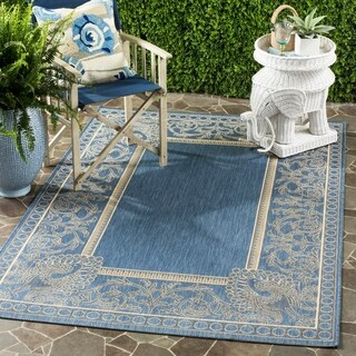 Safavieh Abaco Blue/ Natural Indoor/ Outdoor Rug (6'7 x 9'6)