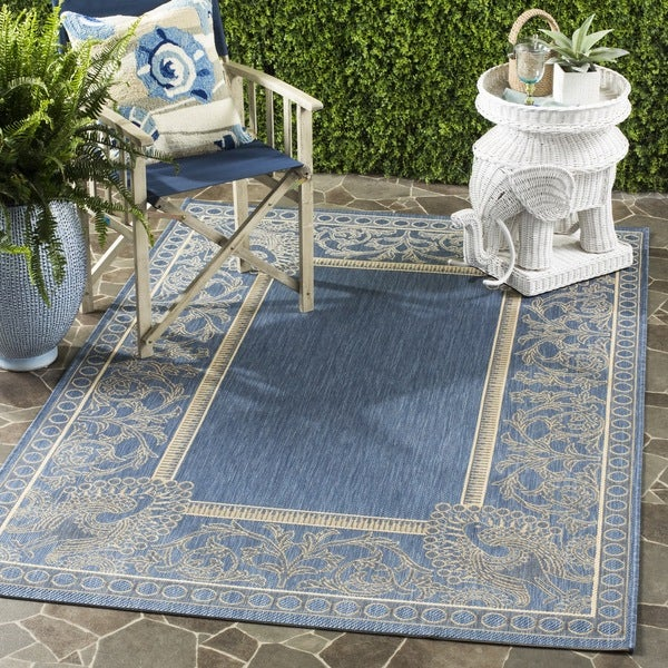 Safavieh Abaco Blue/ Natural Indoor/ Outdoor Rug (6'7 x 9'6)