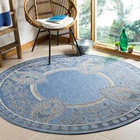 """Safavieh Abaco Blue/ Natural Indoor/ Outdoor Rug - 6'7"""" x 6'7"""" round"""