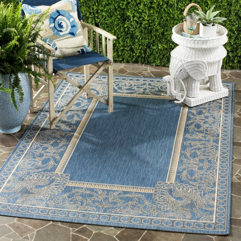 Safavieh Courtyard Abaco Blue/ Natural Indoor/ Outdoor Rug - 8' x 11'