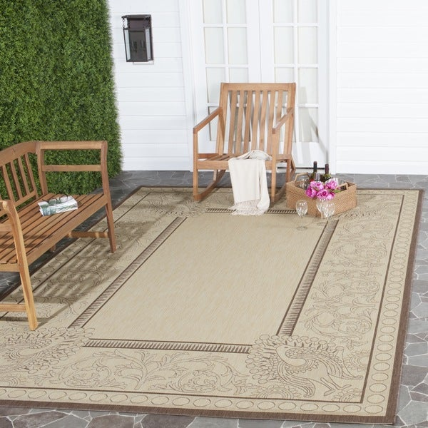 Safavieh Abaco Natural/ Chocolate Indoor/ Outdoor Rug (5'3 x 7'7)