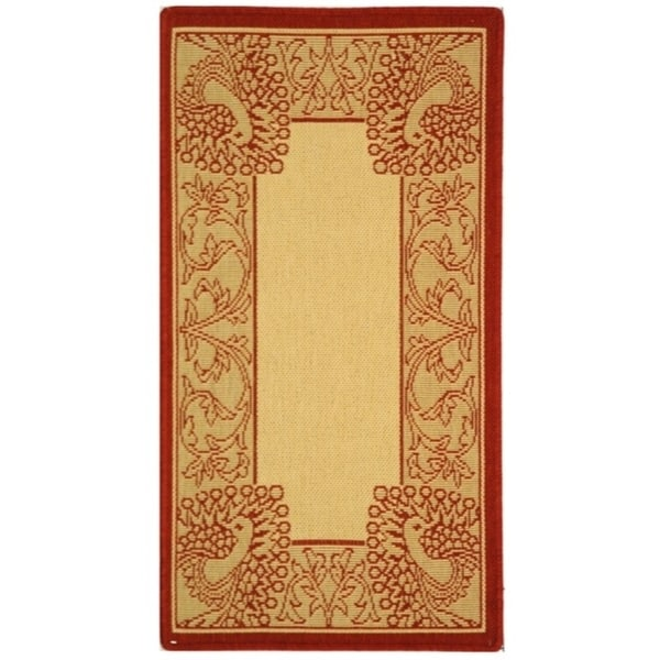 """Safavieh Abaco Natural/ Red Indoor/ Outdoor Rug - 2' x 3'-7"""""""