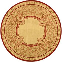 Safavieh Abaco Natural/ Red Indoor/ Outdoor Rug (5'3 Round)