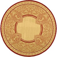 """Safavieh Abaco Natural/ Red Indoor/ Outdoor Rug - 5'3"""" x 5'3"""" round"""