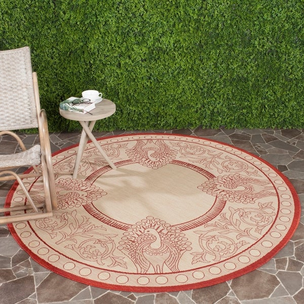 "Safavieh Abaco Natural/ Red Indoor/ Outdoor Rug - 6'7"" x 6'7"" round"