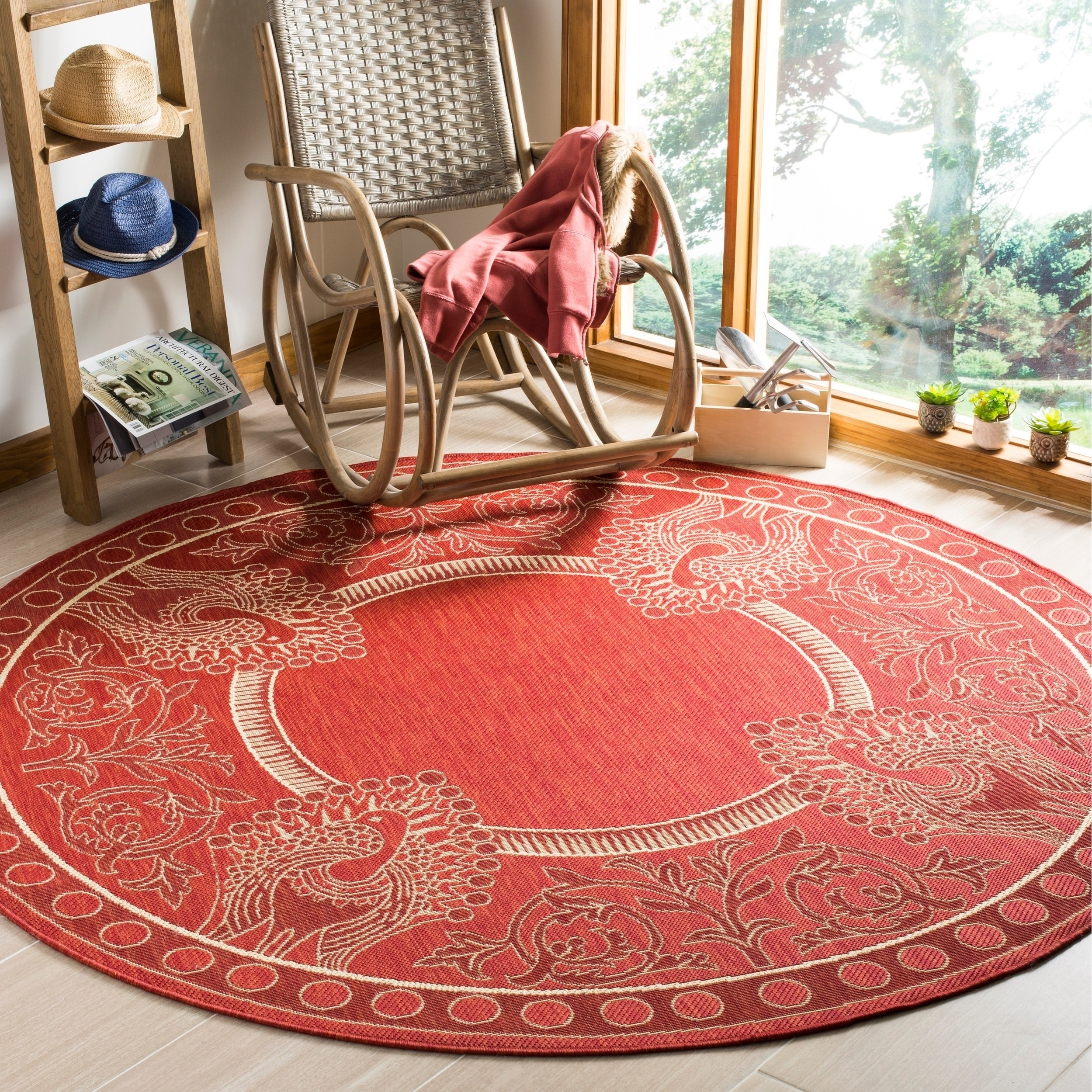 Round Outdoor Plastic Rugs: Safavieh Abaco Red/ Natural Indoor/ Outdoor Rug (5'3 Round