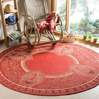Safavieh Abaco Red/ Natural Indoor/ Outdoor Rug (6'7 Round)