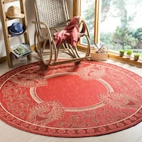 Safavieh Abaco Red/ Natural Indoor/ Outdoor Rug (6'7 Round) - 6'7