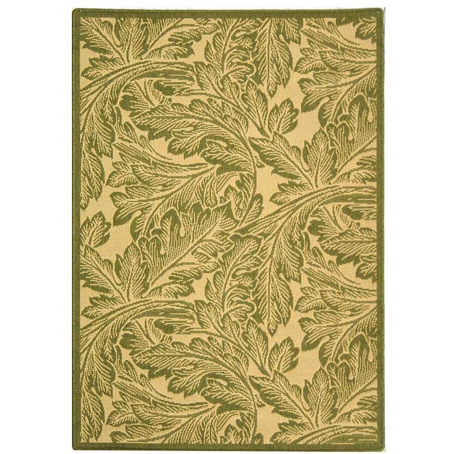 Safavieh Indoor/ Outdoor Acklins Natural/ Olive Rug (2'7 x 5')