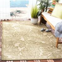 "Safavieh Acklins Natural/ Olive Green Indoor/ Outdoor Rug - 5'-3"" x 7'-7"""