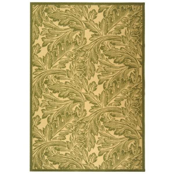 "Safavieh Acklins Natural/ Olive Green Indoor/ Outdoor Rug - 6'-7"" x 9'-6"""