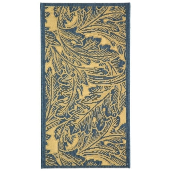 Safavieh Acklins Natural/ Blue Indoor/ Outdoor Rug - 2' x 3'7""