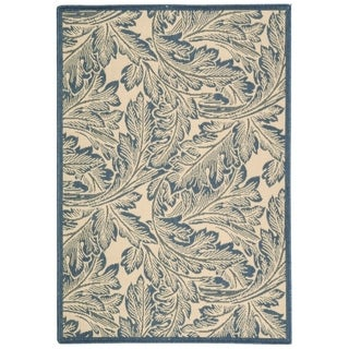 "Safavieh Acklins Natural/ Blue Indoor/ Outdoor Rug - 4' x 5'-7"""