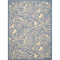 Safavieh Acklins Natural/ Blue Indoor/ Outdoor Rug - 8' X 11'