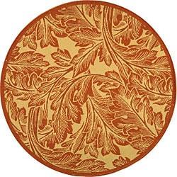Safavieh Indoor/ Outdoor Acklins Natural/ Terracotta Rug (5'3 Round)