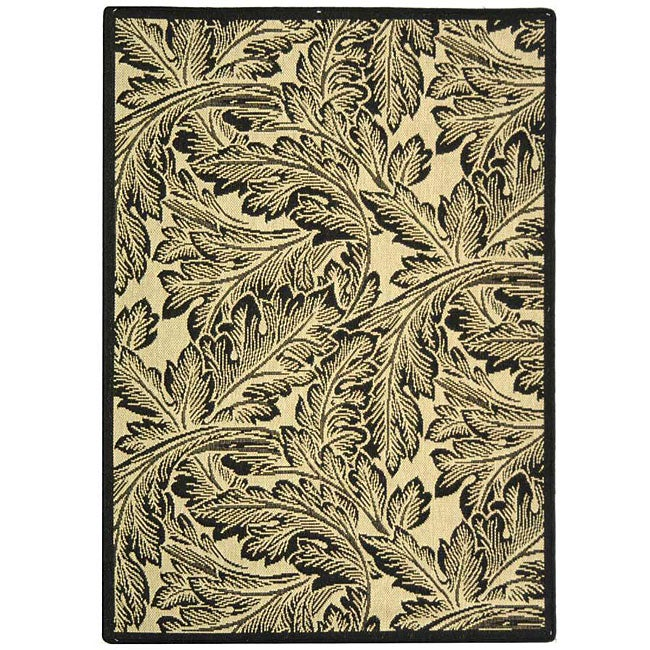 Safavieh Acklins Sand/ Black Indoor/ Outdoor Rug - 4' x 5'7