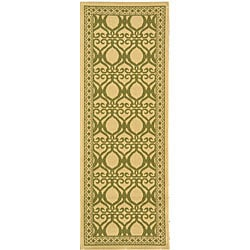 Safavieh Tropics Natural/ Olive Green Indoor/ Outdoor Runner (2'4 x 6'7)