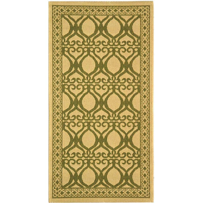Safavieh Tropics Natural/ Olive Green Indoor/ Outdoor Rug (2'7 x 5')