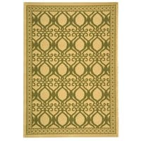 "Safavieh Tropics Natural/ Olive Green Indoor/ Outdoor Rug - 5'-3"" x 7'-7"""