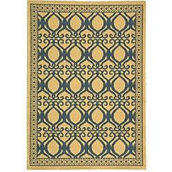 Safavieh Indoor/ Outdoor Tropics Natural/ Blue Rug (2'7 x 5')