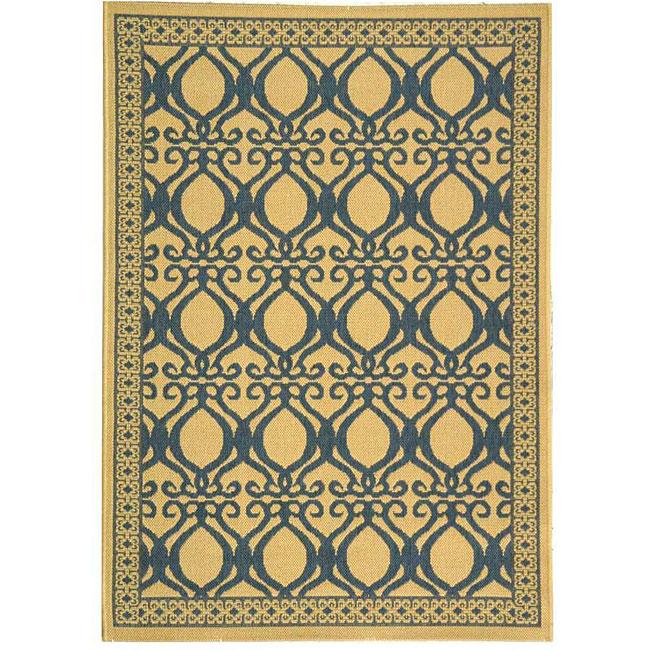 Safavieh Tropics Natural/ Blue Indoor/ Outdoor Rug (4' x 5'7)