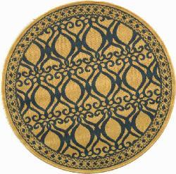 Safavieh Tropics Natural/ Blue Indoor/ Outdoor Rug (5'3 Round) - Thumbnail 1