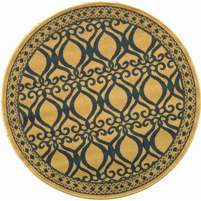 Safavieh Tropics Natural/ Blue Indoor/ Outdoor Rug (5'3 Round) - Thumbnail 0