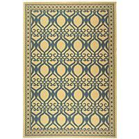 Safavieh Tropics Natural/ Blue Indoor/ Outdoor Rug (6'7 x 9'6) - 6'7 x 9'6