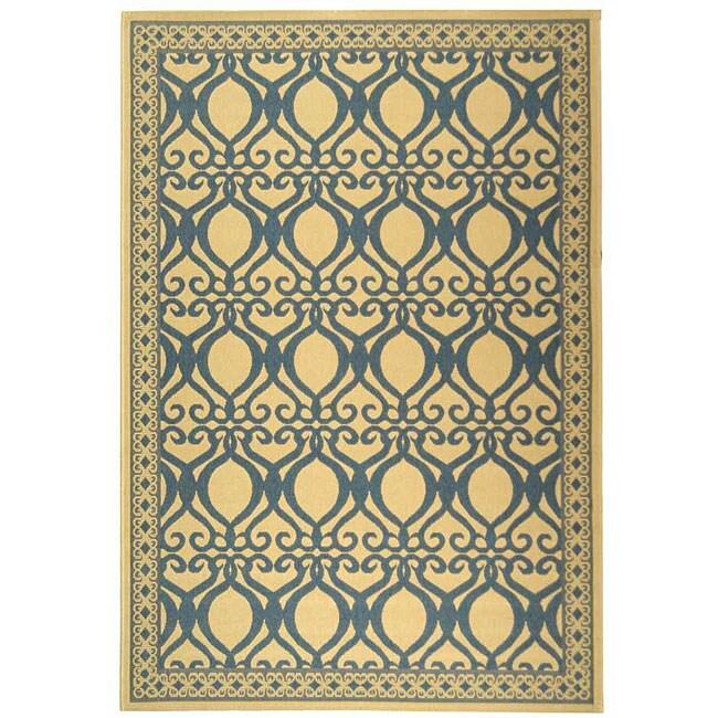 Safavieh Tropics Natural/ Blue Indoor/ Outdoor Rug (8' 10 x 11' 6)