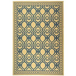 Safavieh Indoor/ Outdoor Tropics Natural/ Blue Rug (8' 10 x 11' 6 RECTANGLE)