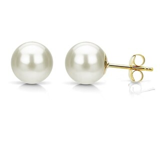 DaVonna 14k Yellow Gold AAA+ White Round Freshwater Pearl Stud Earrings with Gift Box (More options available)