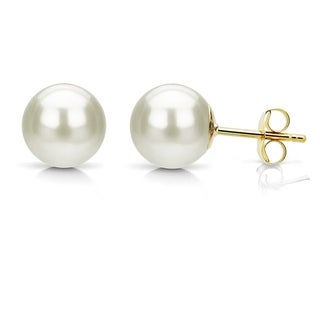 DaVonna 14k Yellow Gold AAA+ White Round Freshwater Pearl Stud Earrings with Gift Box