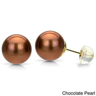 DaVonna 14k Yellow Gold Round Cultured Pearl Stud Earrings (8-9 mm) (Option: Brown/Champagne)