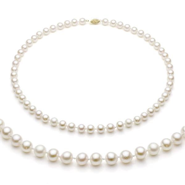 DaVonna 14k Gold White Akoya Pearl High Luster 18-inch Necklace (6.5-7 mm)