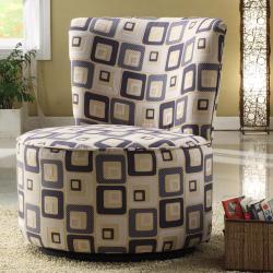 Moda Blue Cube Print Round Swivel Chair