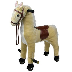 Plush Walking Horse with Wheel and Foot Rest