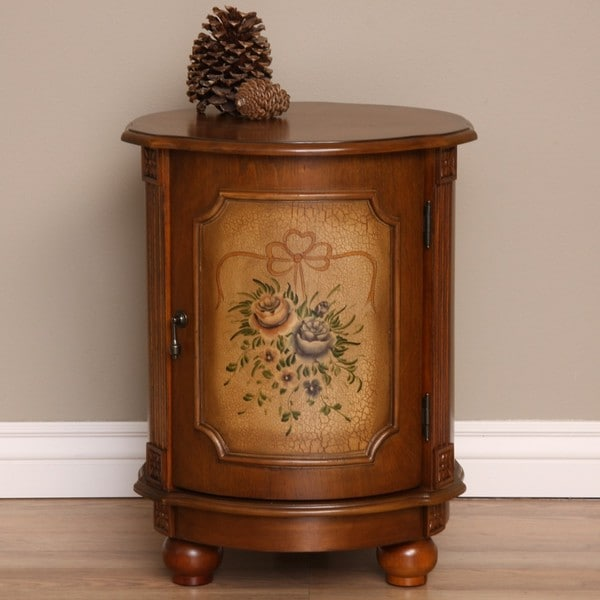 Hand-painted Floral Drum Table