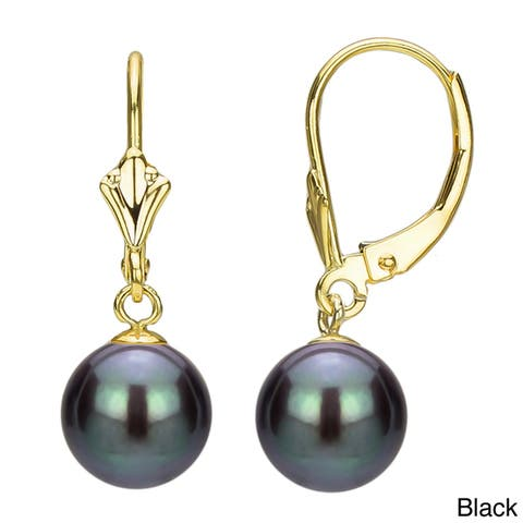 DaVonna 14k Yellow Gold 8-9mm Freshwater Pearl Luster Fleur de Leverback Earrings