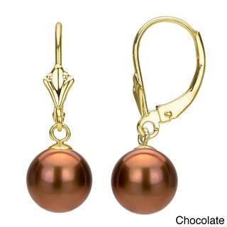 Davonna 14k Yellow Gold 8 9mm Freshwater Pearl Er Fleur De Leverback Earrings