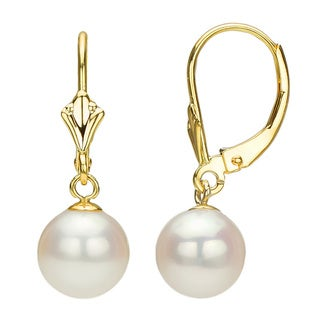 DaVonna 14k Yellow Gold Akoya Pearl Leverback Earrings (8-9mm)