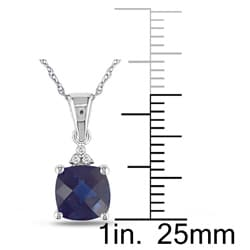 Miadora 10k Gold Created Blue Sapphire and Diamond Accent Necklace - Thumbnail 1