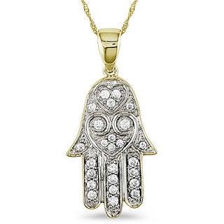 Miadora 14k Gold 1/5ct TDW Diamond Hamsa Necklace (G-H, SI1-SI2)