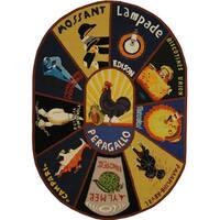 "Safavieh Hand-hooked Vintage Poster Wool Rug - 4'6"" x 6'6"" oval"